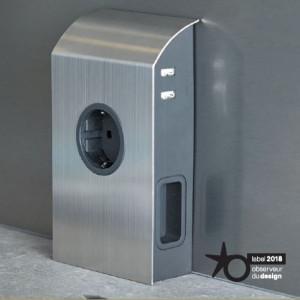 SFL - BORN - Vegg løsning - 1 stikk + 2 EURO + 2 USB (5V/2A) - STAINLESS STEEL