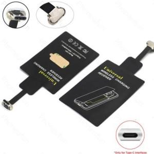 QI-adapter til ANDROID - USB-C - For trådløs lading / QI-lading - SORT