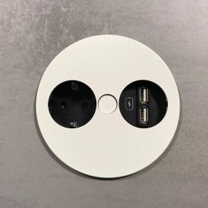 BACHMANN - TWIST - Nedfellbar stikkontakt med 1 stikk + 2 USB - MATT HVIT