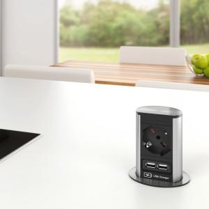 BACHMANN - ELEVATOR - 1 stikk + 2 USB - STAINLESS STEEL