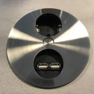BACHMANN - TWIST - Nedfellbar stikkontakt med 1 stikk + 2 USB - STAINLESS STEEL