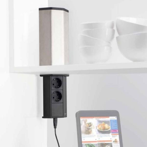 EVOline® V Port 2x stikk og USB lader Sort & Børstet